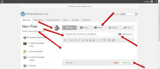 Trying the New Quick Post on WordPress